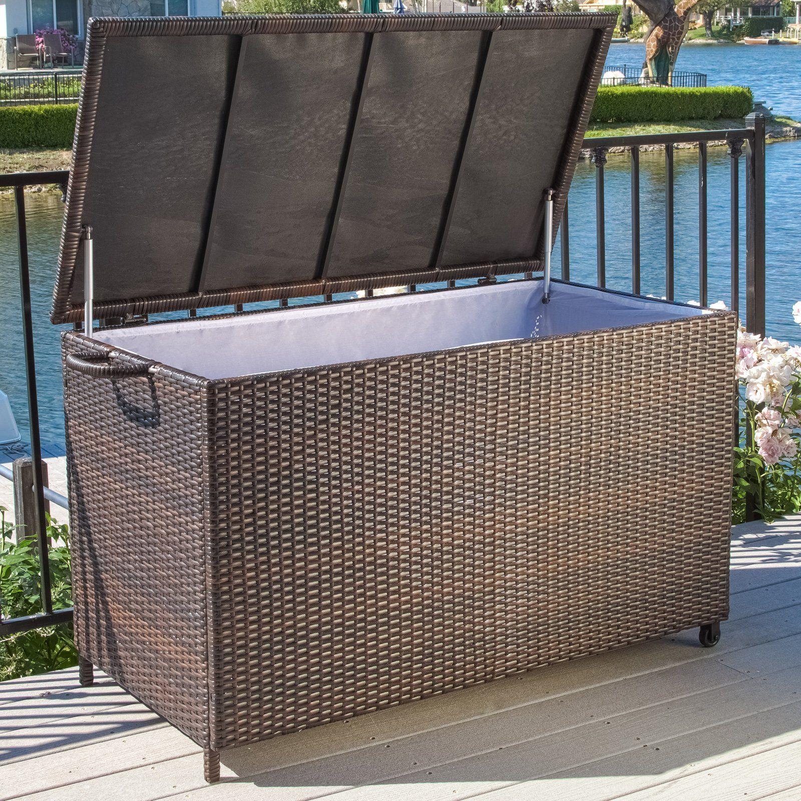 Outdoor Anistan 54 In 150 Gallon Wicker Deck Box Patio Storage Deck Box Home Decor Furniture