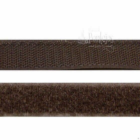 Velcro para coser de color marrón oscuro