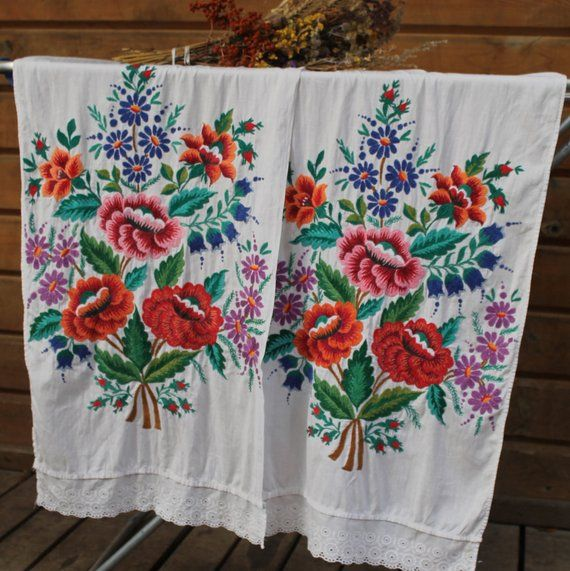 Embroidered Towels For Wedding Gift: Embroidered Rushnyk Handmade, Beautiful Ukrainian Folk