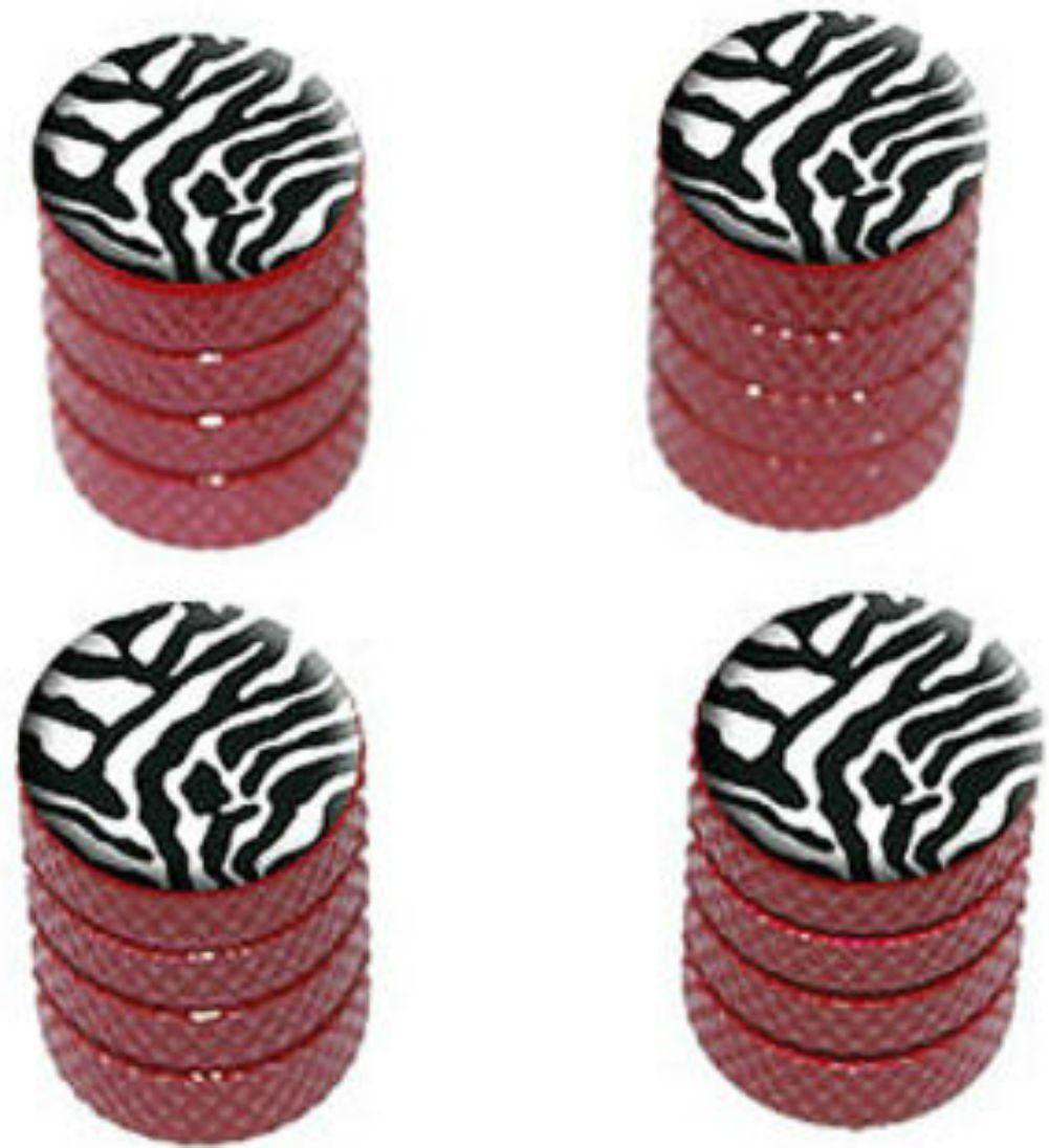 Zebra Print Black Red Tire Rim Wheel Aluminum Valve Stem Caps