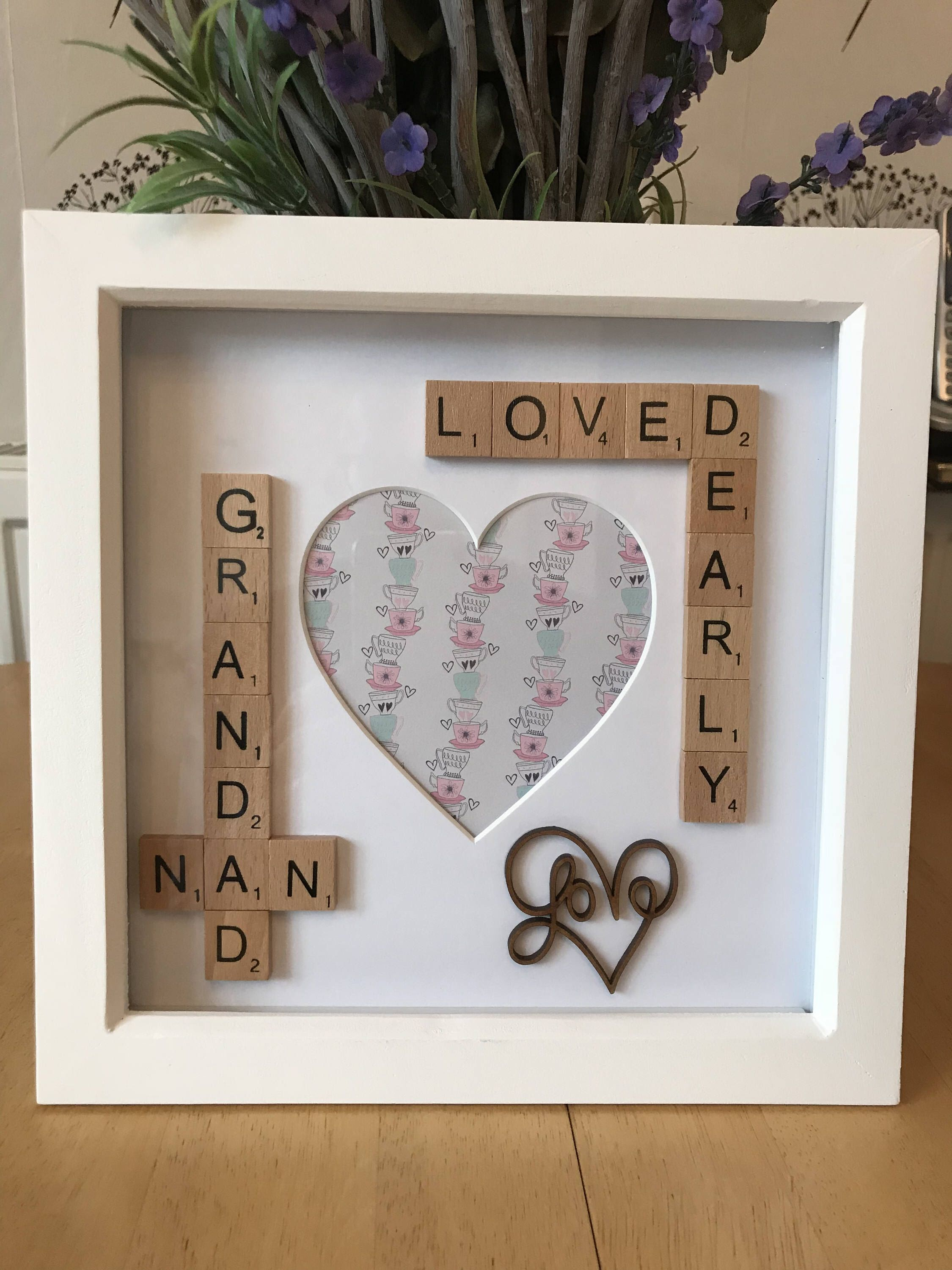 Nan Nana Grandma Grandad Scrabble Photo Box Frame Gift Idea Gift For Grandparents Heart Photo Frame Loved Dearly Christmas Gift Idea Grandp Scrabble Marco