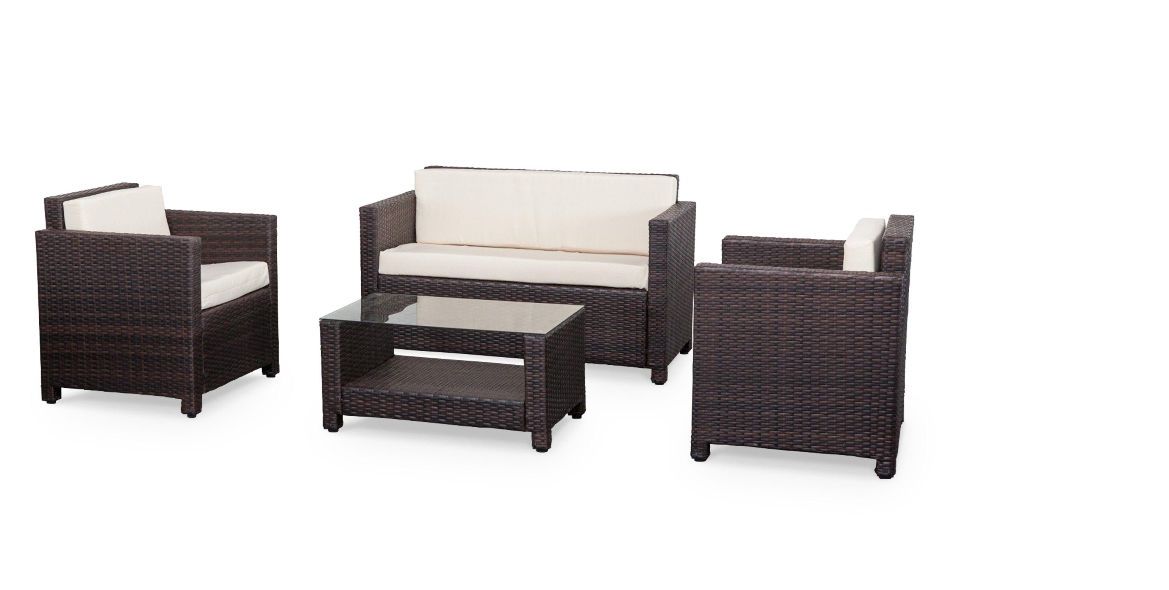 Muebles de jardin, conjunto sofa de exterior, Chocolate Crudo, 4 ...