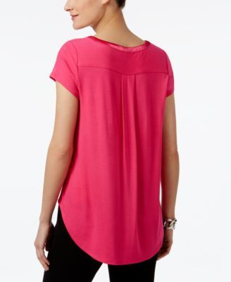 e79197e1 Alfani Petite Satin-Trim High-Low T-Shirt, Only at Macy's - Yellow P/S
