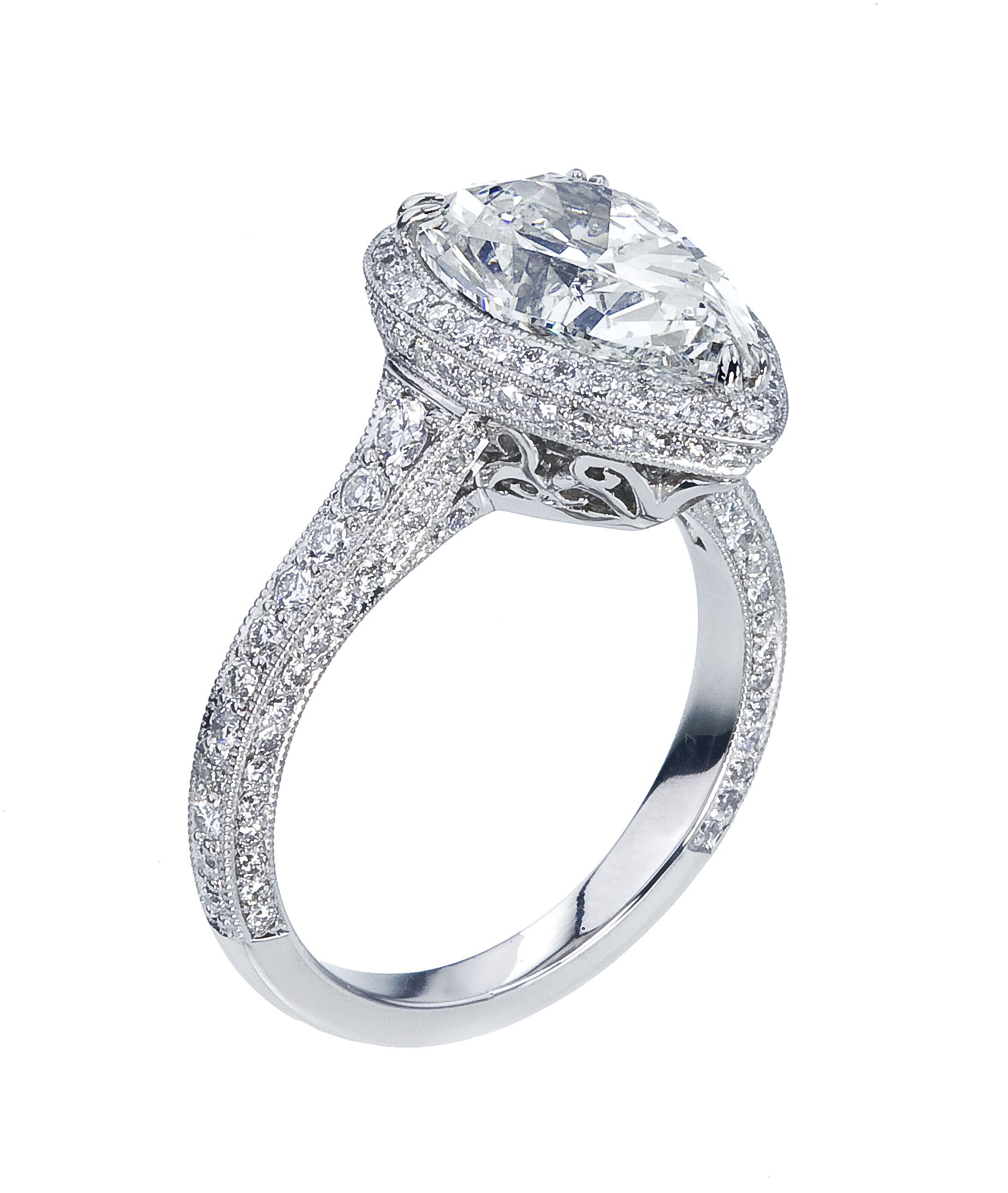 ring rings pear london wedding product company claw diamond shaped