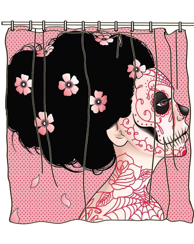 Skull Bedroom Curtains Tattoo Too Fast Shower Curtain Sugar Skull Day Of The Dead