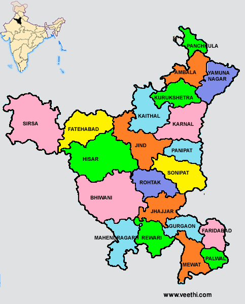 Haryana India Map.Haryana Districts Map 122 Indian States Territories In 2019