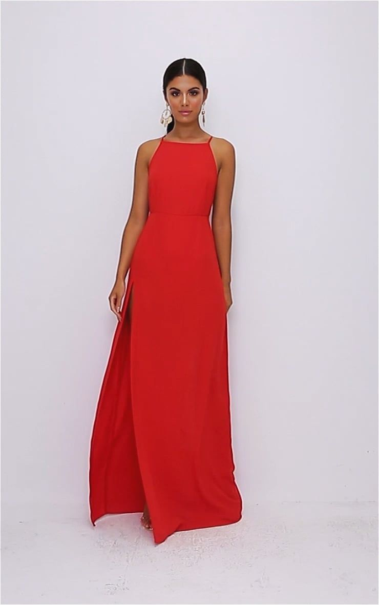 Red Strappy Back Detail Chiffon Maxi Dress Simple Prom Dress Dresses Fashion