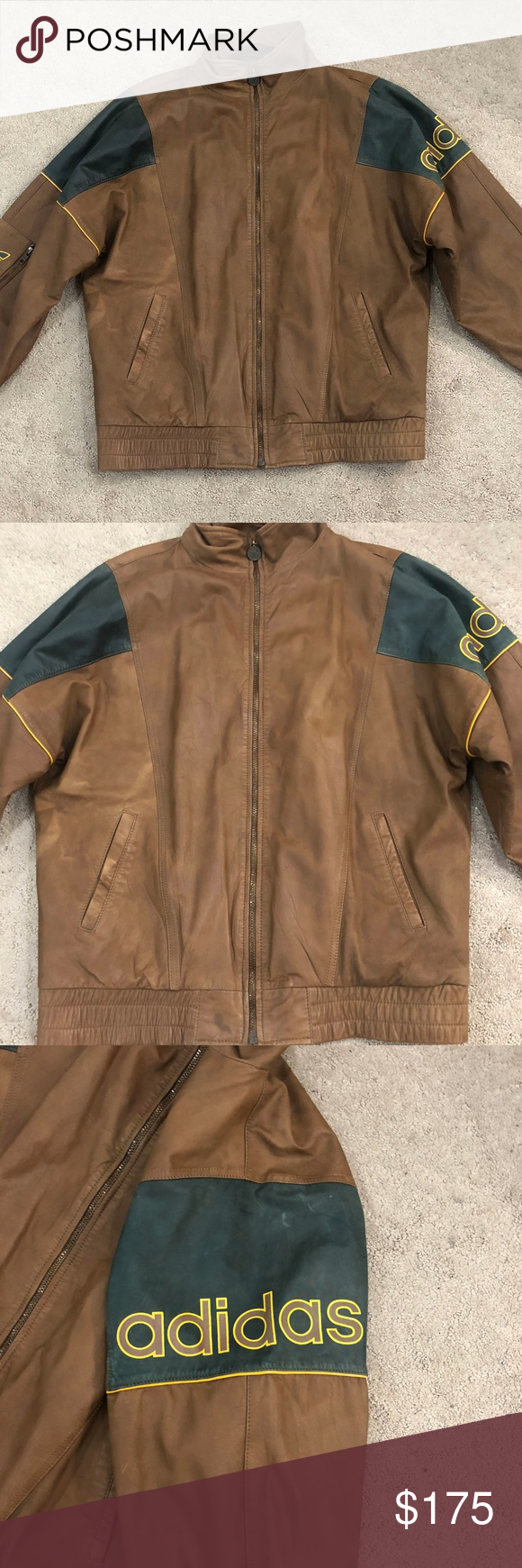 Mens Adidas Vintage Brown Leather Bomber Size M USED MEN'S