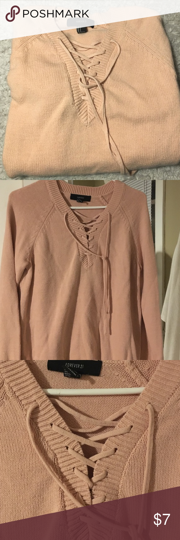 Forever21 light pink sweater Light weight sweater with lace detailing Forever 21 Sweaters V-Necks