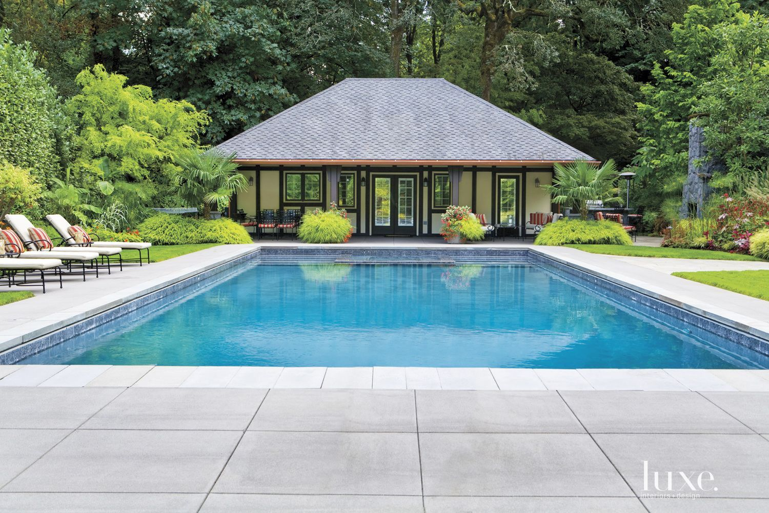 A 1970s portland tudor set within a tropical oasis for Pool design 1970