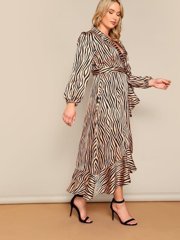 25e8e1b7 Plus Zebra Pattern Shawl Collar Belted Wrap Dress. Sleeve Length: Long  Sleeve Dresses Length