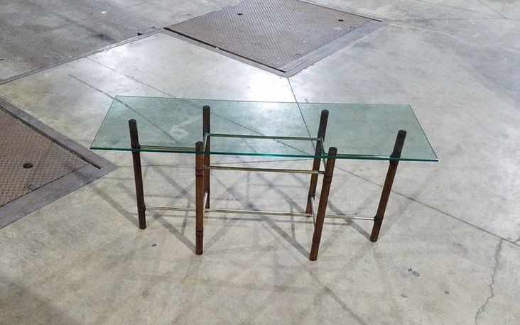 Mcm Wood Pole Gl Top Mcguire Style Sofa Table