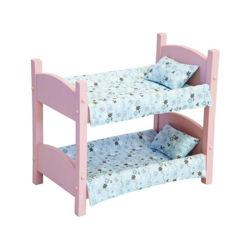 Beautifu Pink Painted Doll Bunk Bed Solid Wood Handcrafted
