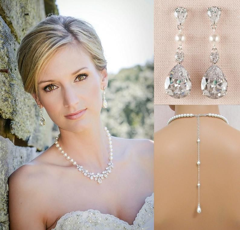 Bridal Jewelry Claire Necklace Crystal and Pearl Bridal Earrings Wedding back drop Necklace Backdrop Bridal Necklace Wedding Earrings