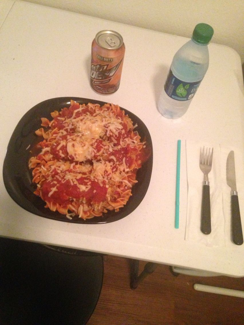 Chicken Parmigiana!!! He loved it. Al dente noodles with EXTRA cheese.