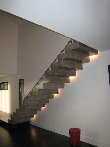 03 escalier monobloc paillasse cr maill re incorporation de spots b ton anthracite lisse. Black Bedroom Furniture Sets. Home Design Ideas
