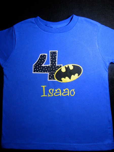 b2af0044 Personalized Batman Fourth Birthday Royal blue Shirts for Boys. Available  for girls or boys, short sleeves. $19.50, via Etsy.