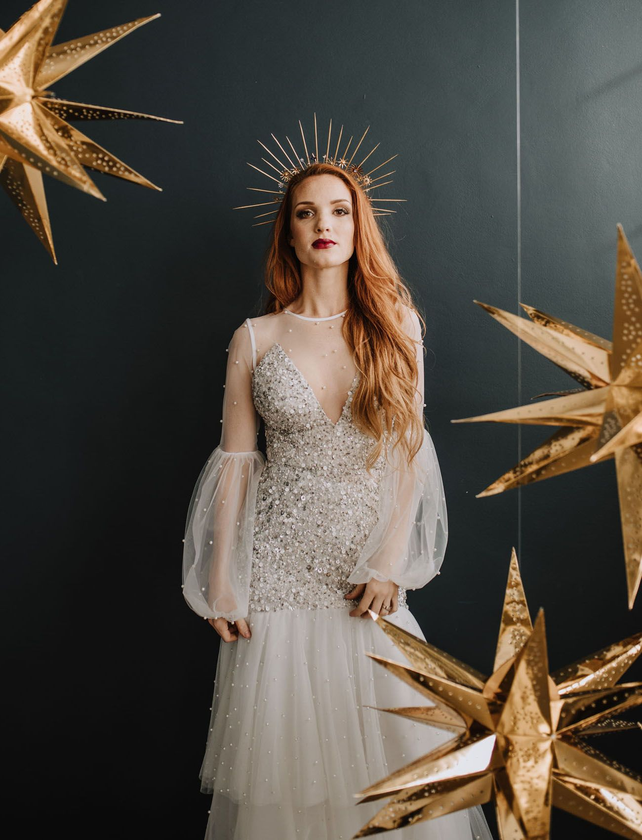 0784f82bab5d Natalie Wynn Design Dress with gold celestial star bridal crown for a New  Year's Eve Wedding Party