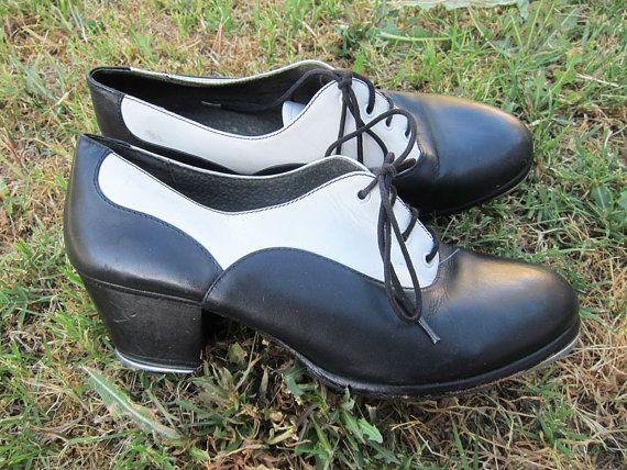 Tap Shoes Black White Capezio Saddle