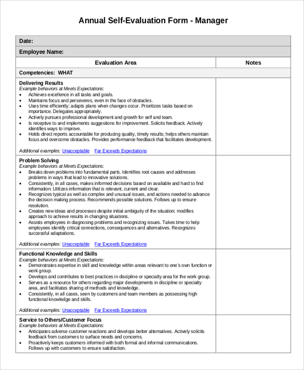 Annual Performance Review Employee Self Evaluation Examples Employee Evaluation Form Evaluation Employee Employee Performance Review