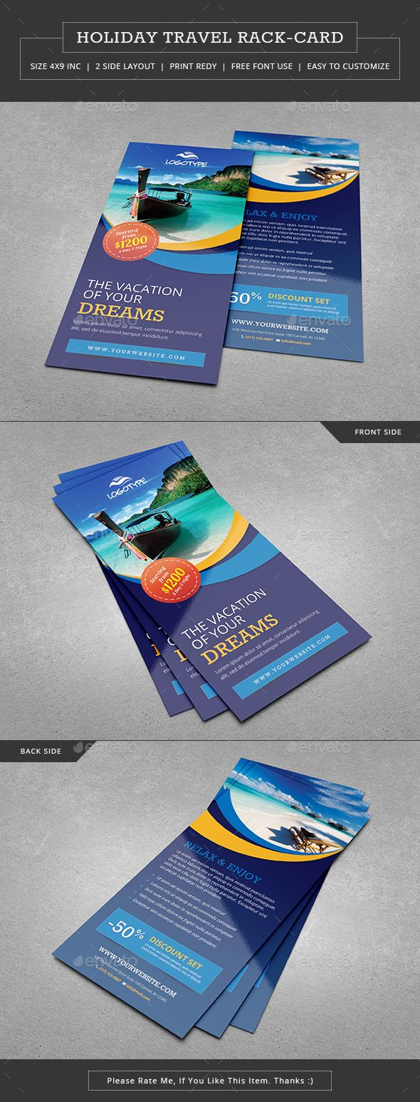 Travel  Vacation Rack Card  Flyer Template Template And Brochures