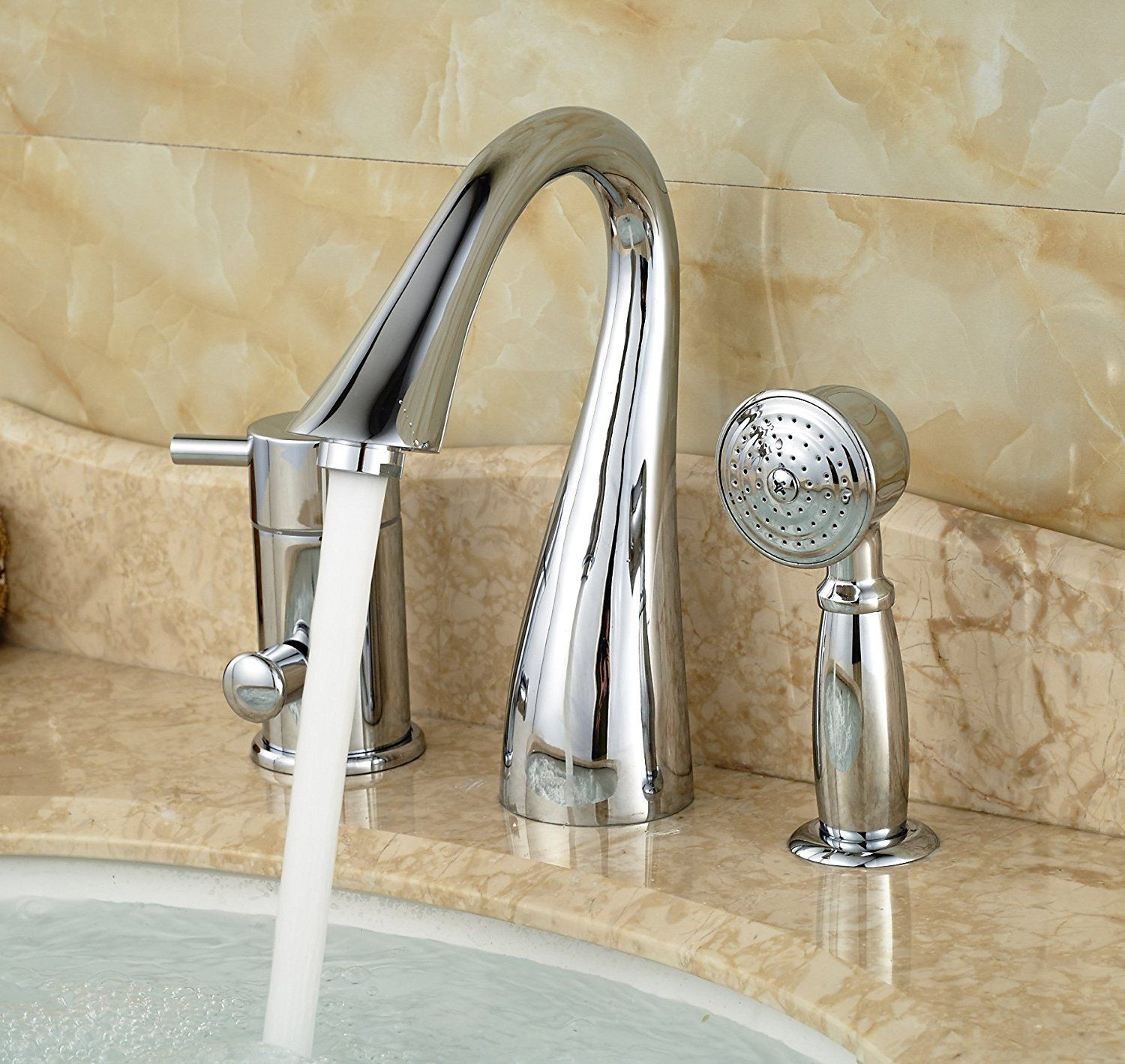 Rozin Deck Mount 3 Holes Bathtub Faucet Single Lever Mixer With