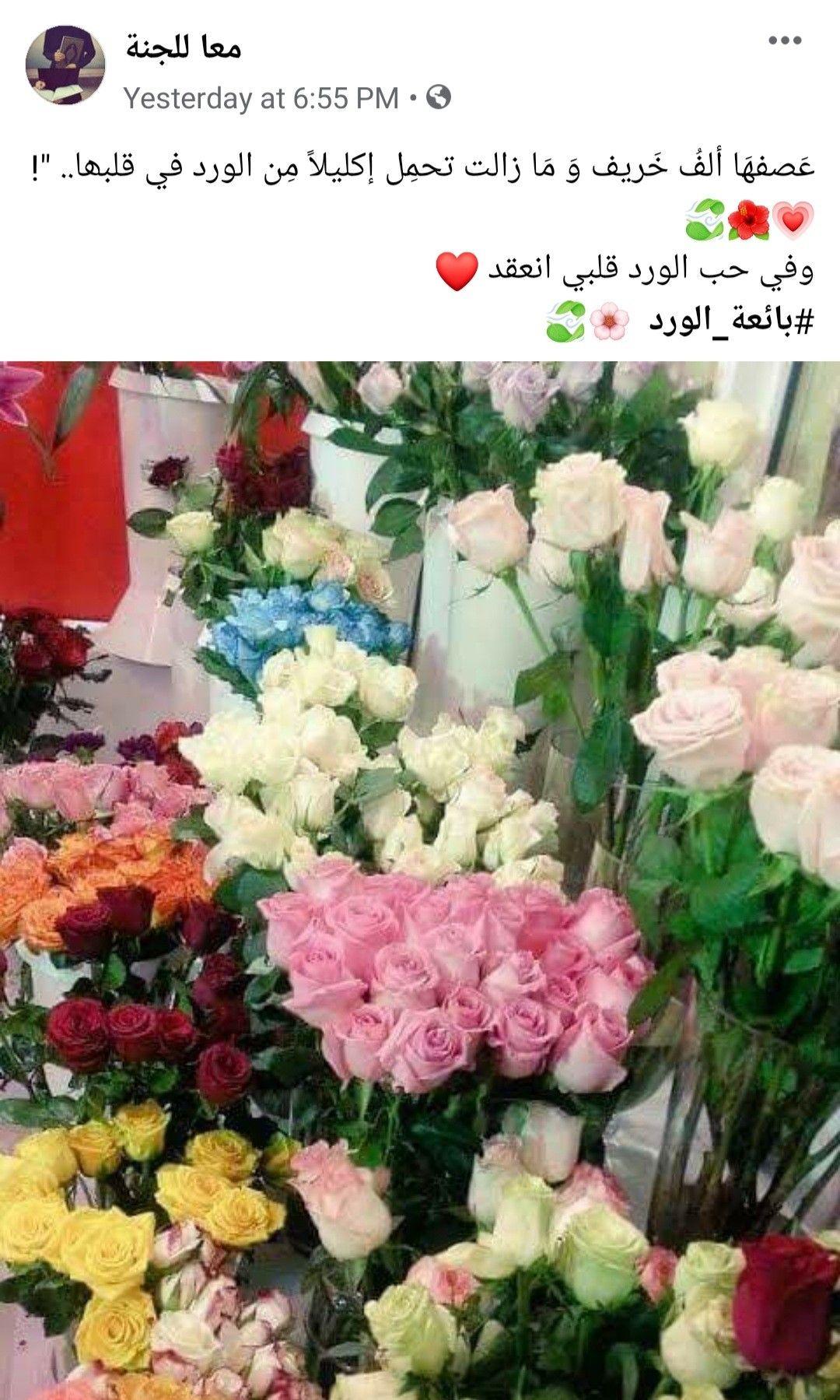 ع صفه ا ألف خ ريف و م ا زالت تحم ل إكليلا م ن الورد في قلبھا وفي حب الورد قلبي انعقد بائعة الورد Floral Wreath Floral Beautiful Moments