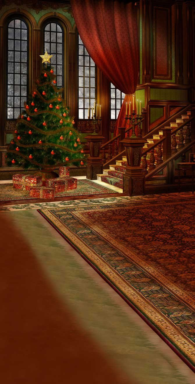Printed Victorian Christmas Tree Backdrop - 259