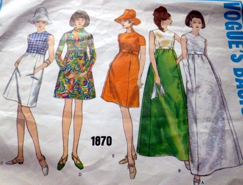 LOVELY VTG 1960s DRESS VOGUE Sewing Pattern no. 1870   Pinterest