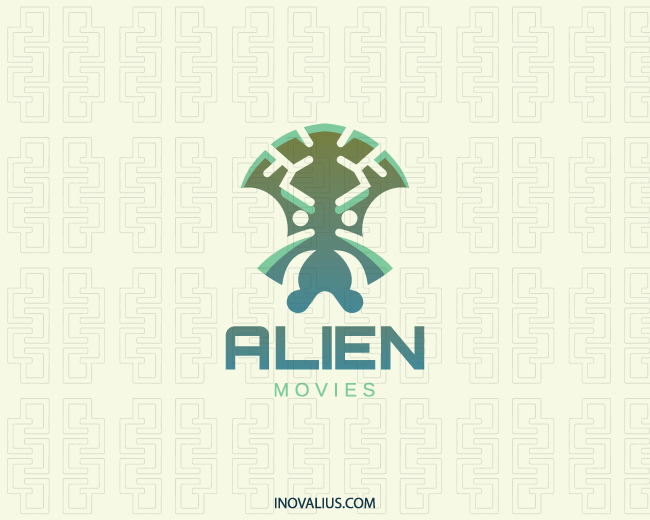 Stylized Logo In The Shape Of An Alien Composed Of Abstract Shapes With Green And Blue Colors Media Alien Abstract Science Aliens Movie Alien Logo Design