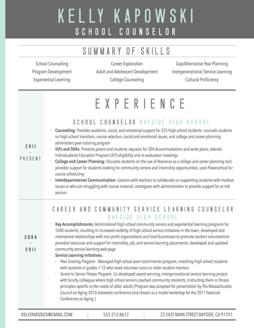 Graphic Resume Sample For School Counselor  Graphic Design
