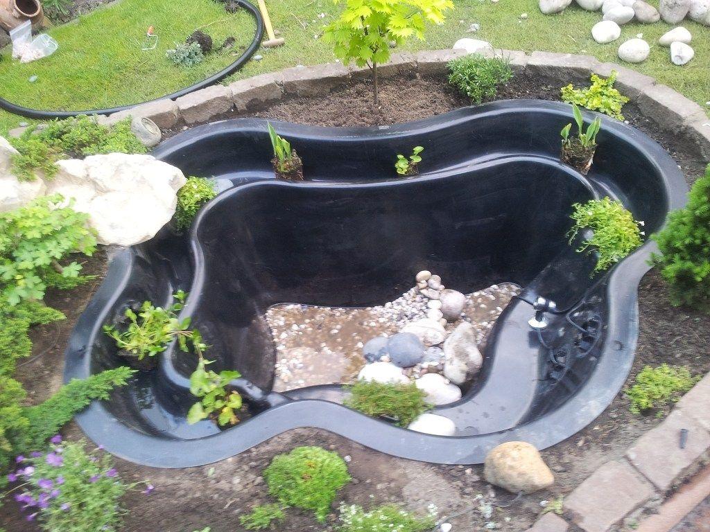 anlegen – aufbauen – einbauen eines gfk fertigteich / fertigteich, Gartenarbeit ideen
