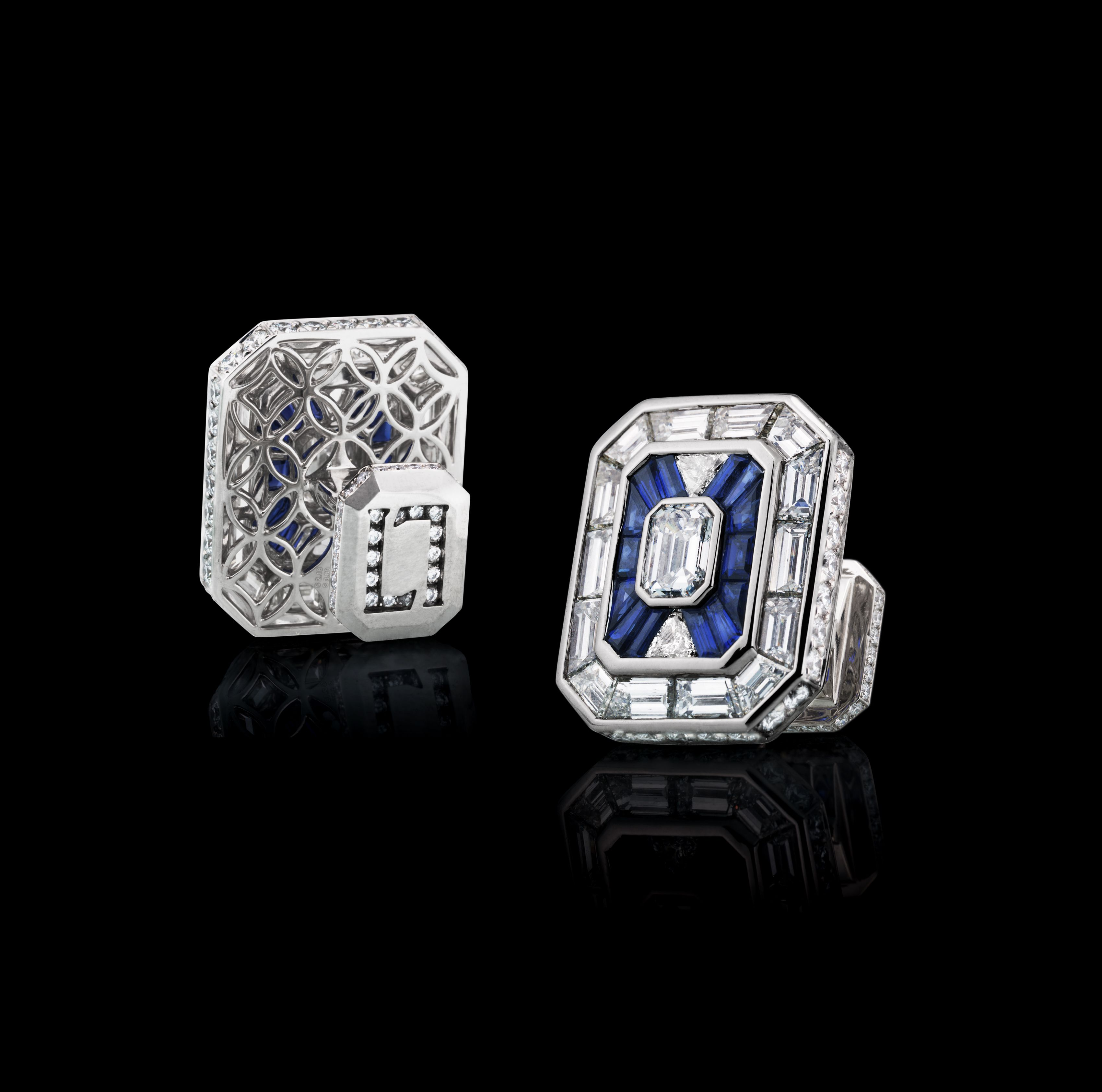 LEVIEV Sapphire and Diamond Cuff Links totaling 8.82 carats, handcrafted in platinum.
