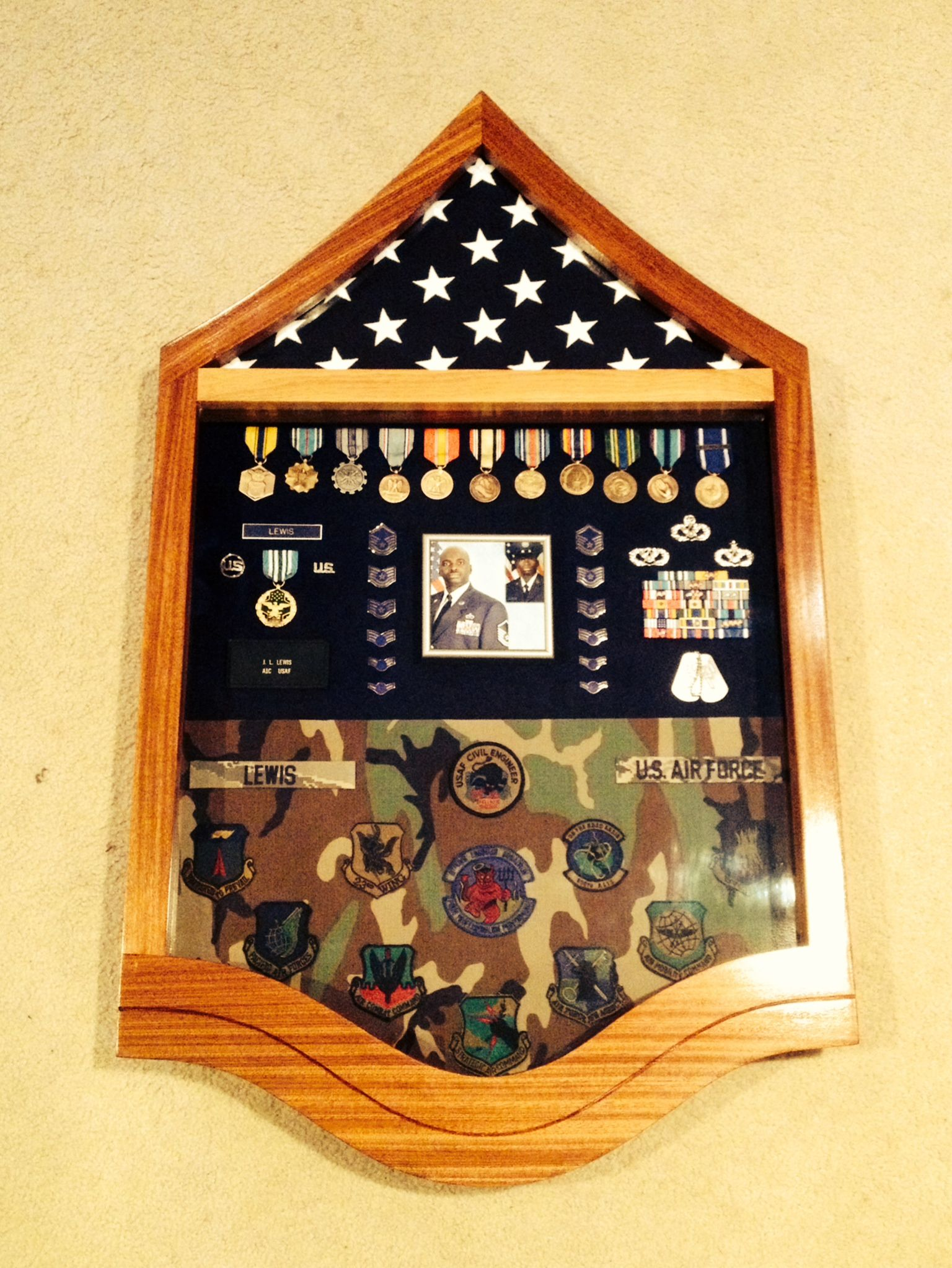 USAF Master Sergeant Stripe Shadow Box with Sapele (African Mahogany ...