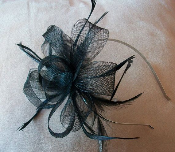 Items similar to Black Fascinator Headband Black Feather fascinator Wedding Fascinator for Races fascinator evening Fascinator Kentucky derby Fascinator Hat on Etsy