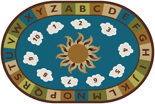 Sunny Day Learn & Play Kids Classroom Rug - Nature