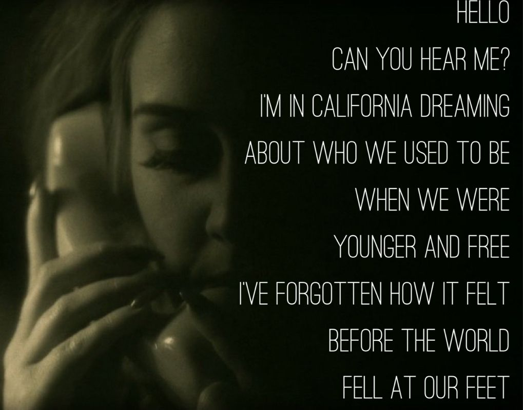 Hello, can you hear me? I'm in California dreaming about