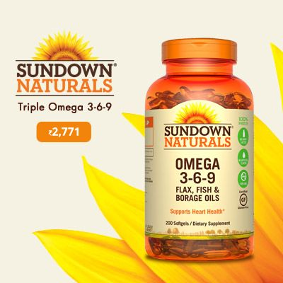Sundownnaturals Triple Omega 3 6 9 200 Softgels Shop At Ibhejo