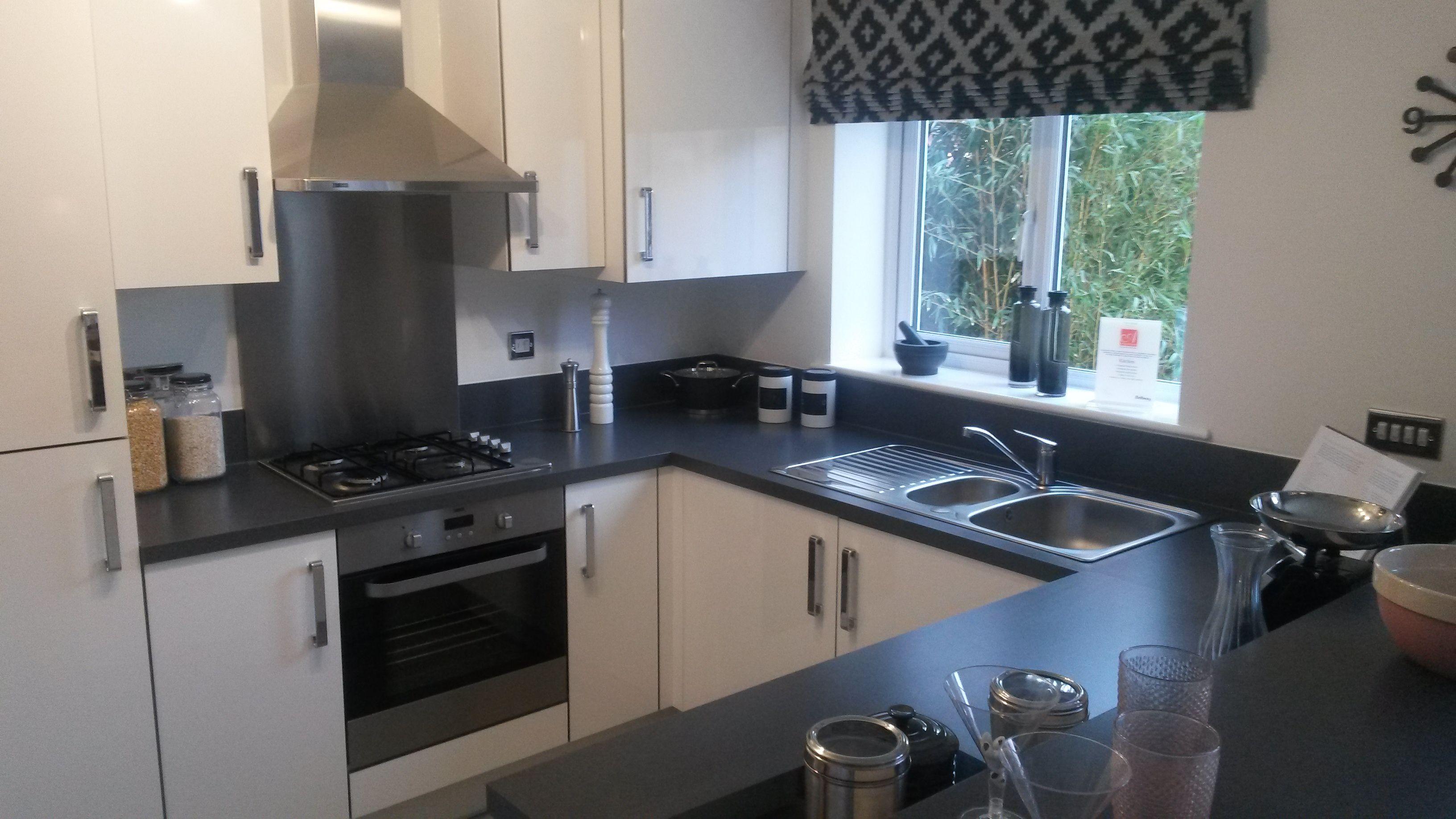 Black Worktops White Cupboards Kitchen Kitchen Design White