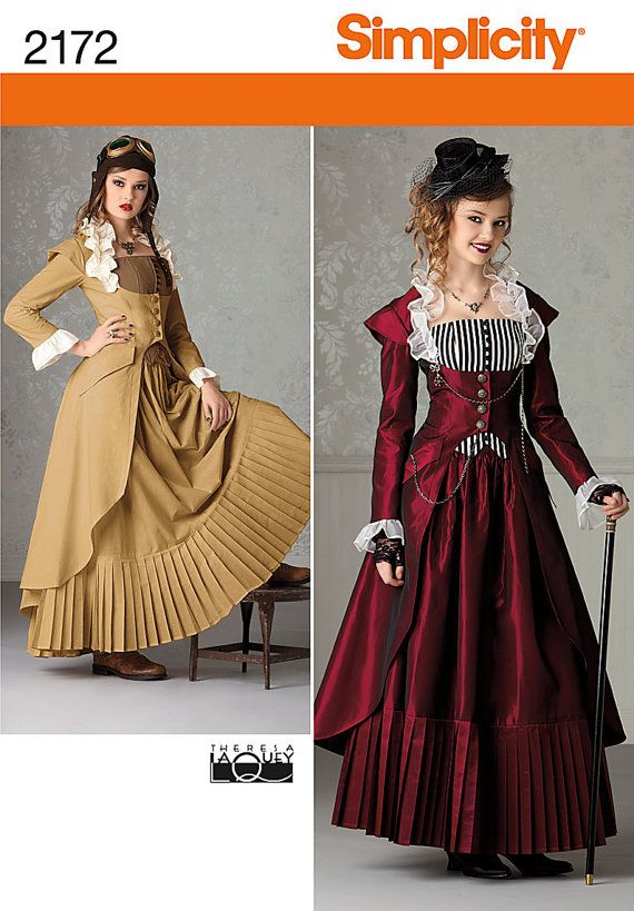 Simplicity 2172 Steampunk Women's Dress Costume Sewing Pattern Victorian Gown plus size 14-16-18-20-22