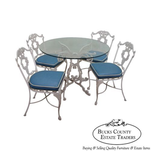 woodard vintage cast aluminum rococo style 5 piece patio table Marilyn Monroe Style Sitting Furniture woodard vintage cast aluminum rococo style 5 piece patio table chairs set