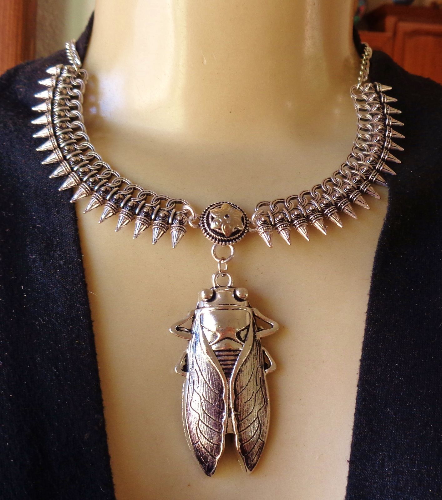 Vintage necklace huge egyptian cicada pendant wide spikey collar vintage necklace huge egyptian cicada pendant wide spikey collar aloadofball Image collections