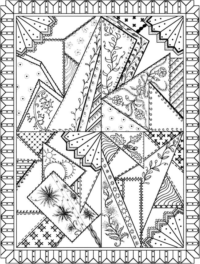 Patchwork Quilt Designs Coloring Book | patchwork zentangle ...
