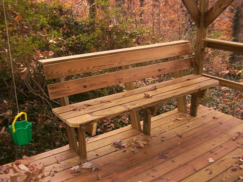 Deck bench design plans benches picnic tables photo for Benches that go around trees
