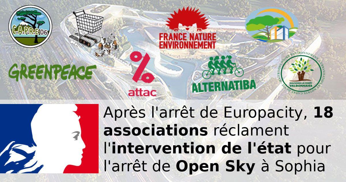 22 associations signent une lettre ouverte à l'État réclamant l'arrêt du centre commercial Open Sky à Sophia Antipolis