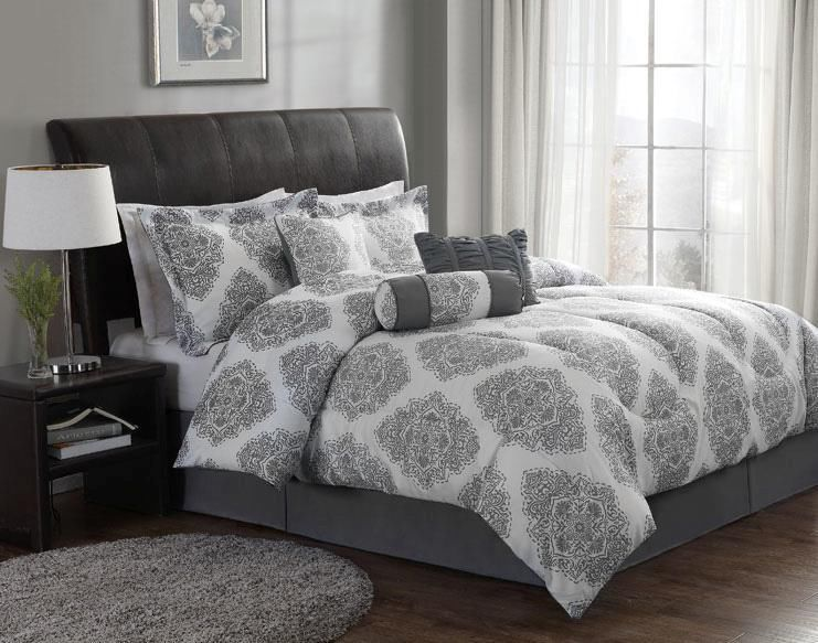 7 Piece Gray White Traditional Modern Medallion Comforter Bedding Set Queen Comfortable Bedroom Grey And White Bedding Elegant Bedroom