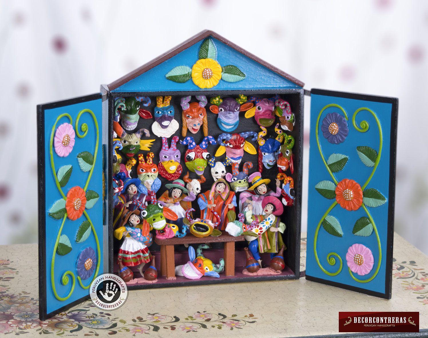 Retablo peruano hecho a mano feria de mascaras for Decoracion en madera para el hogar