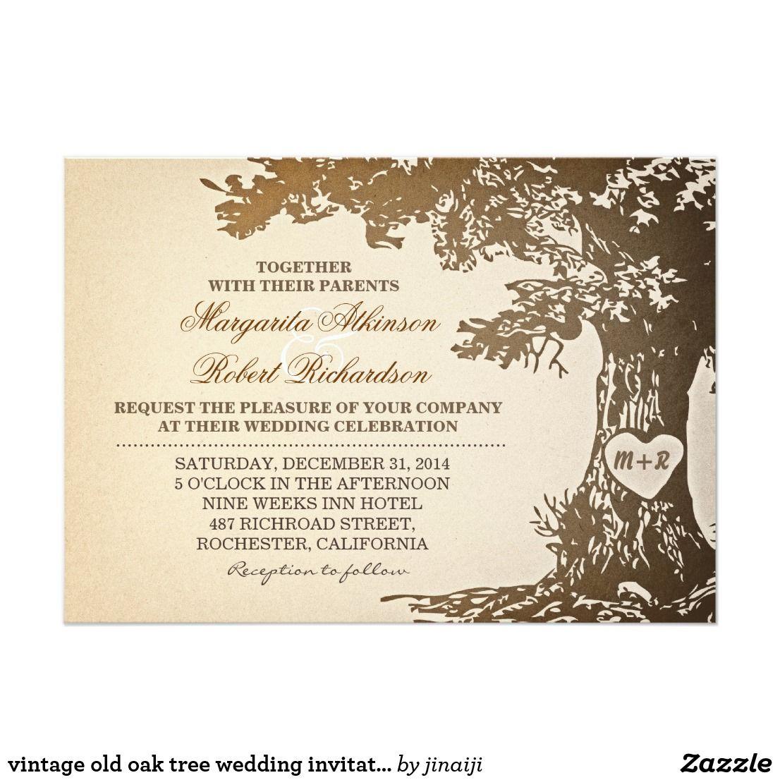 Vintage Old Oak Tree Wedding Invitations Carved Love Heart And Rustic Fun Invites