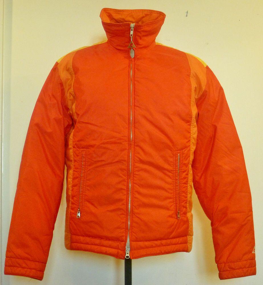 Vtg s gerry down puffer ski jacket coat men m oranges yellow retro