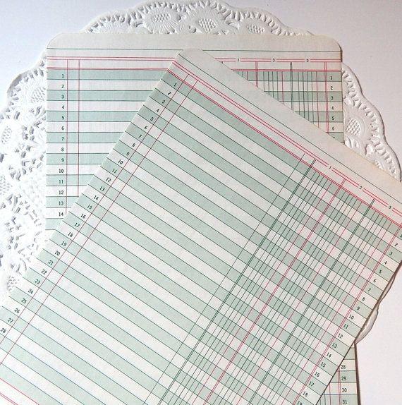 Vintage Ledger Paper Paper Ephemera Accounting by ThePaperBasket - printable bank ledger